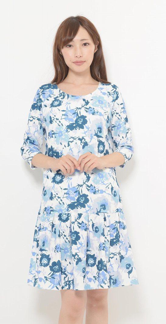 Girls Fashion ヤスカワ ふくれジャカード花柄7分袖ワンピース 900092  【取寄せ品の為、代引き不可】