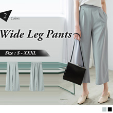 OB DESIGN ★ OBDESIGN ★ ORANGEBEAR ★ ELASTIC WAIST PLEATED WIDE LEG PANTS ★ 2 COLORS ★ S-XXXXL SIZE ★
