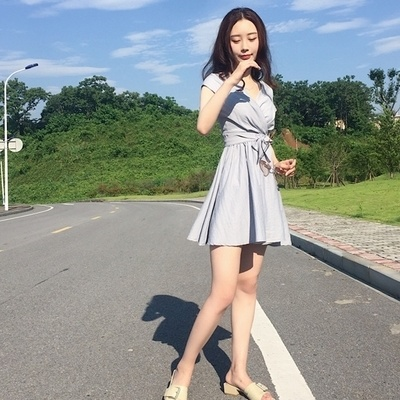 韓国 アンティーク調 着やせ 着やせ 気質 クロス Vネック ウエスト 包帯 短袖 ワン