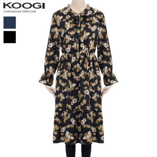 釘宮フラワーバンディングワンピースKK3OP3123A プリントのワンピース/ 韓国ファッション