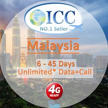 ◆ICC◆【Malaysia SIM Card·6-45 Days】Maxis/Celcom❤4G Unlimited data+Call