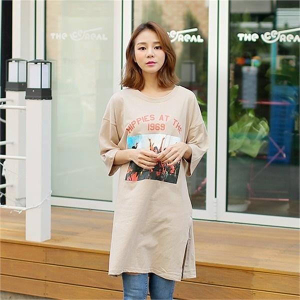 クルリクエンミヒップホップナヨムワンピース プリントワンピース/ワンピース/韓国ファッション