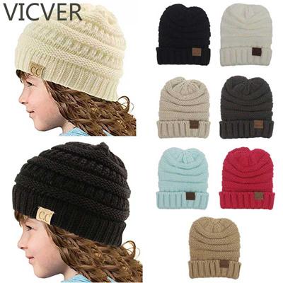6505aebe978 wholesale 2018 CC Beanies Hats Winter Kids Slouchy Beanie Cap Children Warm  Caps For Girls Boys