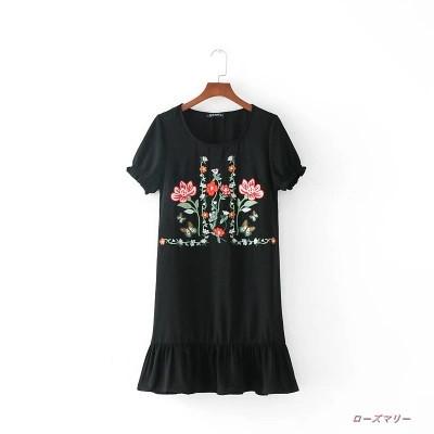 2017秋新型欧米風ファッション女装花刺繍ワンピクルーネックワンピース スイート 花柄 刺繍レース 大人気 かわいい-QQ1346
