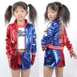 New Kids Harley Quinn Halloween Costumes Girls Clothing Suicide Squad Children Jacket Cosplay Suit 3