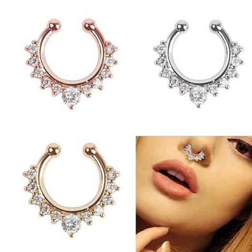 Qoo10 1pc Gothic Boys Mens Fake Septum Clicker Nose Ring Crystal