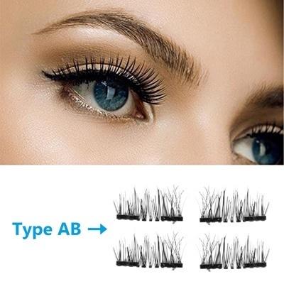 bdb8899f6c0 Qoo10 - 4Pcs/Pair Magnetic 3D Eyelashes Double Handmade Natural ...