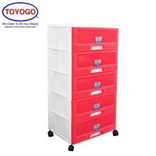 Toyogo Plastic Storage Cabinet / Drawer With Wheels (5 Tier) (609-5)
