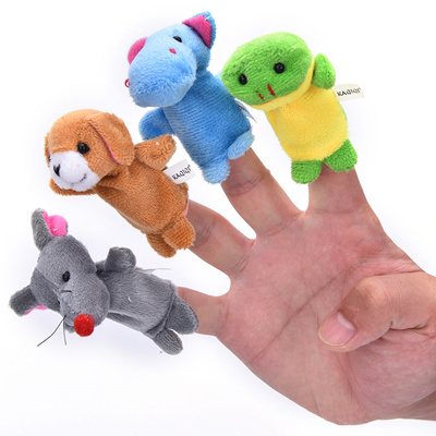 10Pcs//Set Family Finger Animal Puppets  Baby Educational Hand Cartoon.Cloth Toy!