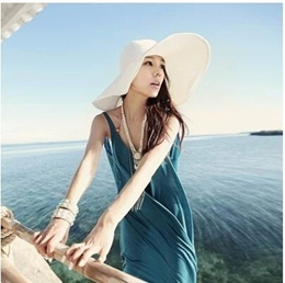 SingaporeVisor hat no deformation sun hat beach hat large brimmed hat straw hat_child clothing