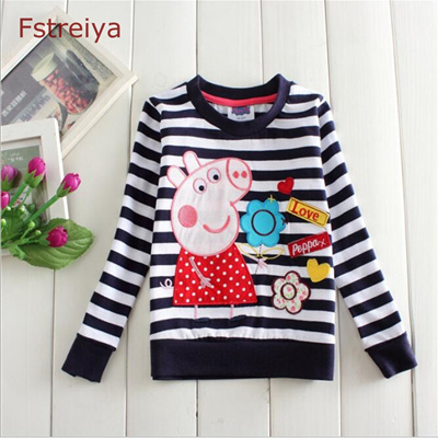 b7805df48 Baby girls peppa pig T shirt stripe girl shirts clothes bobo choses 2018  kids clothing tiny