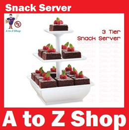 3-Tier Square Snack Server Platter Tray. Cupcake Stand. Great for parties.  2 or 3 tier