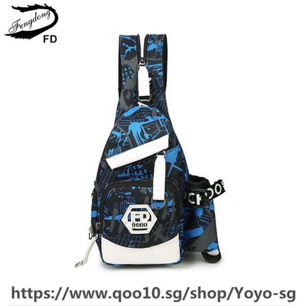 blue waterproof oxford fabric male small chest bag men travel bags boy mini shopping bag pack cross Deals for only S$47.78 instead of S$47.78