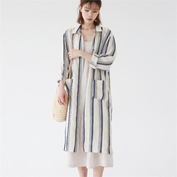 デイリー・マンデーStripe linen shirt onepieceワンピースnew ロング/マキシワンピース/ワンピース/韓国ファッション