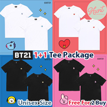 [BT21 x HUNT] ♥ 1+1 ♥ 13Type Tee Package / Official T shirts Package(2Pack / 1Set) ♥Qoo10 Exclusive Limited Edition♥