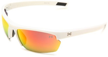 Under Armour Under Armour Stride XL Rectangle Sunglasses, Shiny White Frame/Gray  Orange Multiflect