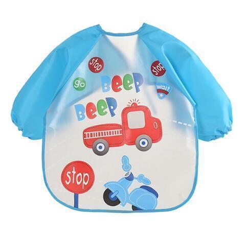Qoo10 - Baby Bibs Infant Cartoon Printed Sleeve Waterproof Coverall ... a1c5e6c8d0