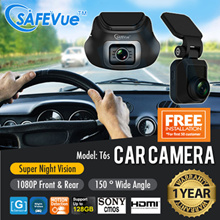 SAFEVue 1080P Front and Rear Dual Channel Car Camera T6s with Local Warranty