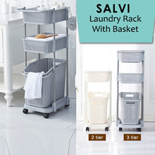 [LAUNDRY]SALVI-LAUNDRY RACK WITH BASKET/ Laundry Basket / Organize for clothes/Large Capacity