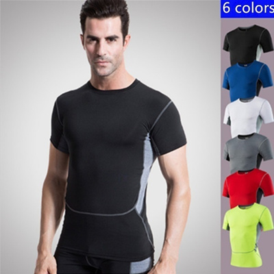 ba4576919a6 S-3XL Plus Size Summer Compression Men Quick Drying Gym T-Shirts Skinny Tops