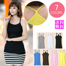 AVIVA Free Shipping / Yu Packet / Camisole / Women's / Plain / Long Sleeveless / Y Back Tank Top / Cut and sewn