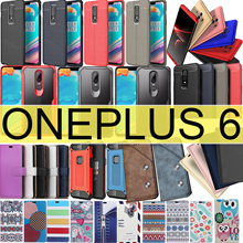 Oneplus 6 Case Luxury Leather Flip Case Tempered Glass TPU case for OnePlus 6 5t Stand Book Cover