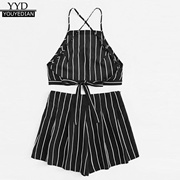 88006b9558 Quick View Window OpenWish. rate new. factory Summer Womens Tank Tunic  Striped Back Tie Crop Top and Shorts Sexy Sleeveless Backless Camis