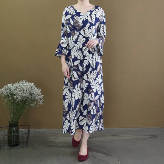 オーサム知りシルリ捺染ロングワンピース231901 綿ワンピース/ 韓国ファッション