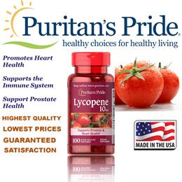Puritans Pride Lycopene 10 mg / 100 Softgels / Item #002111