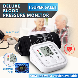 Digital Upper Arm / Wrist Blood Pressure Monitor with LCD Screen Heart Beat Record Memory