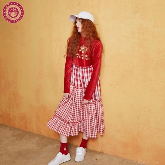 エルフ色襟章ローズチェックワンピース シフォン/レースのワンピース/ 韓国ファッション
