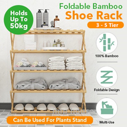 ★IMP HOUSE★5 Tier Foldable Bamboo Shoe Rack Flower Stand No Installation Needed 3/4/5 Tier