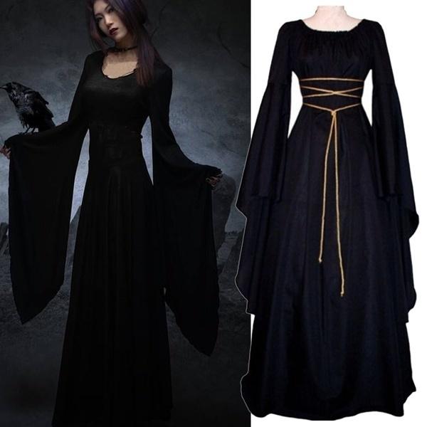 女性の中世の服ルネッサンスヴィンテージスタイルのゴシックドレスフロアレングスの女性コスプレドレス
