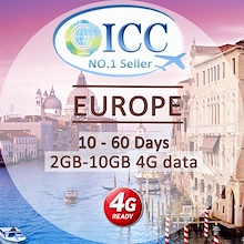◆ ICC◆【Europe Sim Card · 10-60 Days】❤10GB/6GB/3GB4GLTE❤No daily limited❤the BEST Europe sim
