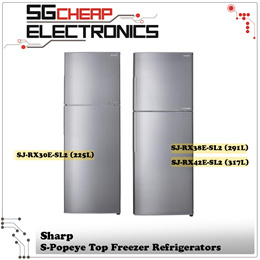 Sharp SJ-RX30E-SL2 | SJ-RX38E-SL2 | SJ-RX42E-SL2 Top Freezer Refrigerators (317L | 291L | 317L)