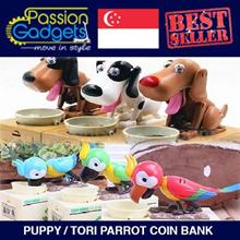 ★NEW★Qoo10 CHEAPEST★Choken Puppy/Tori Parrot Hungry Eating Coin Bank Money Saving Box★ TOY