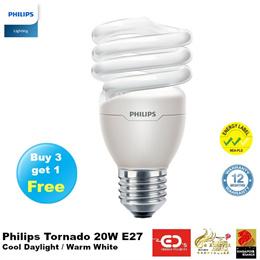 (Buy 3 get 1 free) Philips Tornado 20W E27 Cap (Cool Daylight/ Warm White)