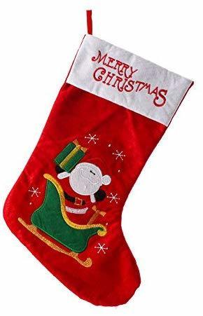 partyforte santa with sleigh embroidered christmas stocking 50cm red
