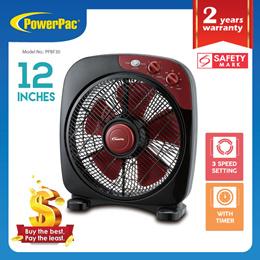 PowerPac Table fan Desk fan 12 Inch Electric Box Fan with Timer (PPBF30)