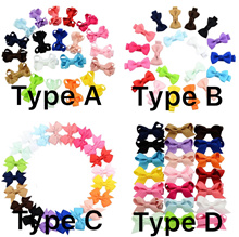 ☆10 Types X 20 Colours ☆ Basic Solid Colour Grosgrain Ribbon Mini Bow Hair Clip For Babies Toddlers