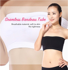 ♥ Seamless Bandeau Tube Top ♥ Breathable Material! Strapless Stretchable Removable Padding