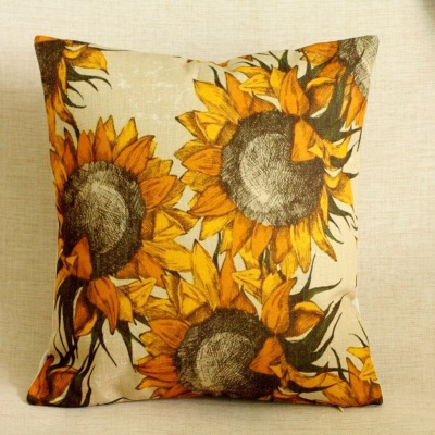18 Cotton Linen Cushion Cover Case Vintage Sunflower Home Decor For Chair Sofa Throw Pillow