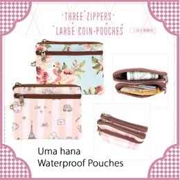 *NEW PRODUCT*   Uma hana Three Zippers Large Coin Pouch   Waterproof Purse  Multi Wallet   UMA181