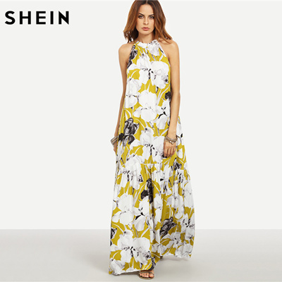 7dab5665ec outlet SHEIN Womens Summer Long Beach Dresses Boho Ladies New Style Fashion  Multicolor Floral Print