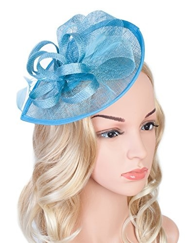 1b69e47682c Z u0026X Sinamay Fascinator Pillbox Hat Headband Hair Clip for Cocktail Tea  Party Blue