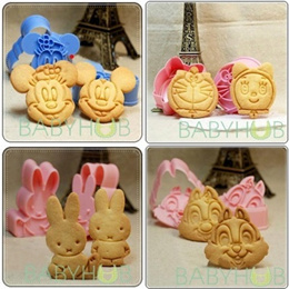 Cookie|Biscuit Press Spring Cutter/Mould/Mold - Hello Kitty|Mickey Mouse|Pooh|Tigger|Doraemon|Miffy|Halloween Pumpkin etc