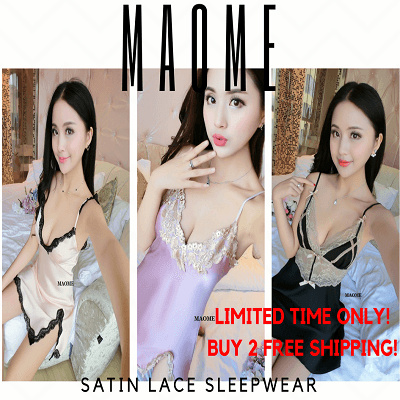 [Maome] Korea Kualitas Tinggi Sexy Satin Lace Sleepwear Lingerie Slip Dress Nightie Pajamas Silk Deals for only Rp161.800 instead of Rp161.800
