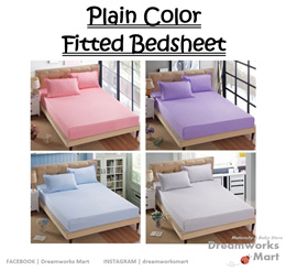Plain Color Fitted Bedsheet [ Queen Size | King Size ]