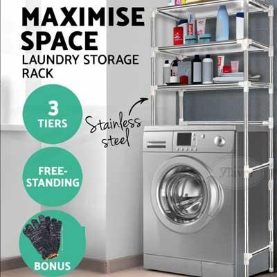 ▶Stainless Steel◀  ★Storage Laundry Rack Toilet/Bathroom/Washing Machine Shelf  Easy-assemble