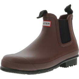 a36a90358b8 Hunter Mens Original Chelsea Dark Sole Rma Umber High-Top Rubber Rain Boot  - 10M